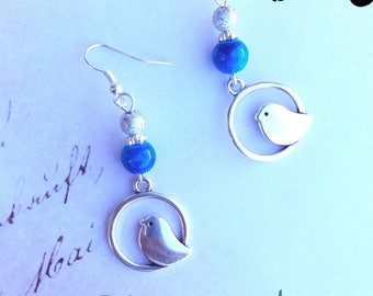 Blue and silver bird Stud Earrings