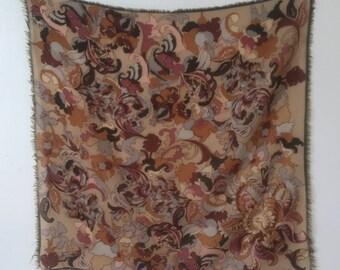 Vintage Oscar De La Renta Floral Print Scarf