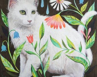 Cat Art Print | Acrylic Painting | Nursery | Floral | 8x8