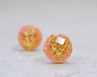 Coral and Gold Flake 12mm Stud Earrings, Simple Jewelry, Minimal Earrings, Peach Orange Plastic Studs, Checkerboard Cut Post Earrings