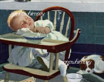 Kitchen Art, Baby's Room Art, Baby and Dog Art Print  #477