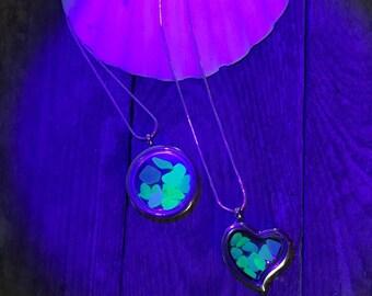 Uv Sea glass, UV, Seaglass locket Rare sea glass Beach finds Glass locket, uk sea glass, Heart locket