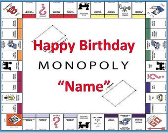 Monopoly  Party Edible Cake Topper Edible  Frosting Sheet - Quarter , Half Sheet , Round , Strips Sizes