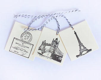 Europe Tag Set 15 Blank baby shower treat tag party bachlorette