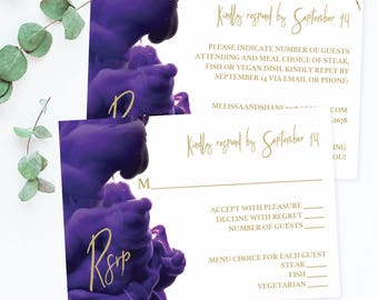 Wedding Rsvp Cards Purple and Gold Wedding Rsvp Cards Download Wedding Insert Cards Wedding Response Card Template Wedding Gold and Purple