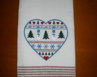 Christmas  Embroidered Towel - Country Heart