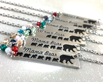 Silver Mama Bear Necklace Birthstone Necklace For Mom Personalized Bar Necklace Mothers Day Gift For Wife  New Mom Gift Baby Shower Gift