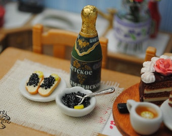 a super realistic miniature caviar and champagne made from polymer clay, polymer dessert, miniature food