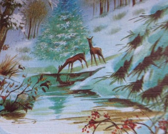 Vintage  Christmas card deers unused+env