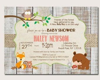 Forest Animal baby shower invitations, Woodland Baby Shower Invitation _59