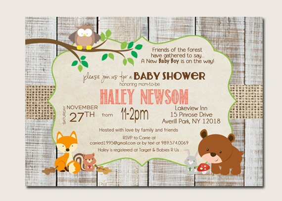 forest animal baby shower invitations woodland baby shower
