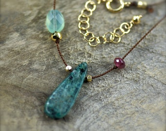 Kyanite, Chalcedony, and Rubellite Garnet Gemstone Necklace. Simple Silk Necklace. Hand Knotted Silk Necklace.