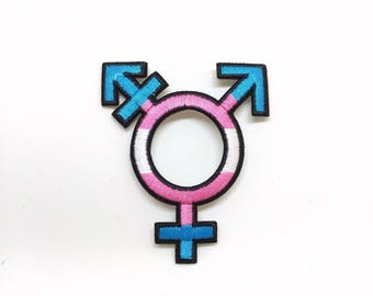 Transgender Patch Trans Symbol Iron on Patch LGBTQA+ Trans Man Trans Woman Trans Boy Trans Girl Nonbinary Transgender Pride Trans Fashion