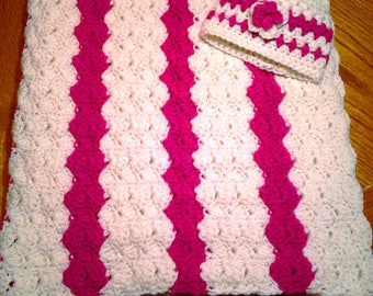 Raspberry and Cream Baby Blanket and Hat