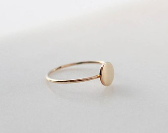 Gold Round Disc Ring - 6mm Disc, 1mm Ring, 14K Gold Filled