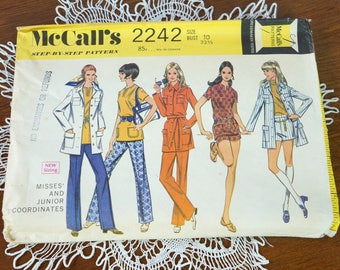 1960s McCall's 2242 Misses' And Junior Coordinates Vintage Paper Sewing Pattern Size 10 Bust 32 1/2