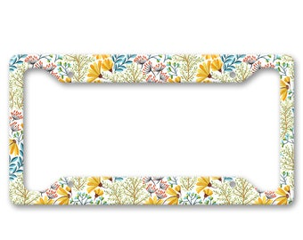 Bright All Over Flower Pattern Print - Bright Colored Boho Hippie Folk Floral Pattern - Auto License Plate Frame - LP1786