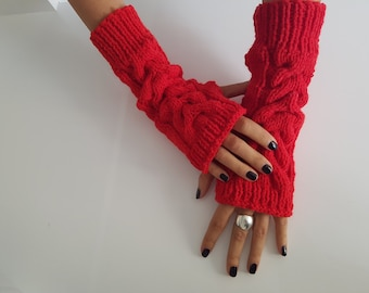 Fall fashion fingerless winter knitted gloves mittens, Wool arm wrist warmers, Christmas gift for her, winter accessories, knit hand warmers