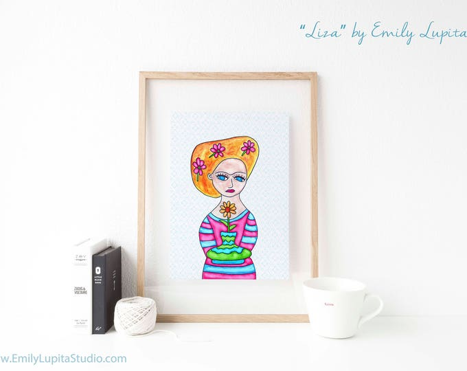 Art Print / Painting Stationary Invitations Greeting Card / Nursery Baby Girl's Room / Frida Blue Eyed Flower Girl Wedding Wall Art / Blonde