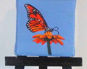 Miniature Orange Monarch Butterfly Painting on Mini Easel