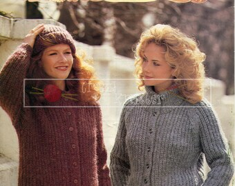 Lady's Jacket and Hat 32-40in Chunky Patons 7242 Vintage Knitting Pattern PDF instant download