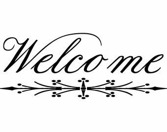 Welcome Home window decal vinyl personalized door welcome sign house front door fancy