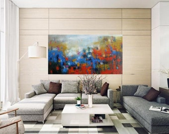 XL large Extra Long narrow wall canvas fine art giclee print, XL abstract wall hanging,Modern Abstract wall canvas print,Contemporary homes