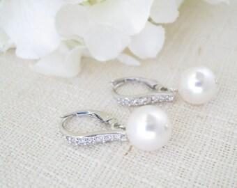 Pearl drop wedding earrings-Simple pearl bridal earrings-Swarovski 10mm pearl earring-Rhinestone lever back earring-Mother of Bride earrings