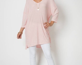 Pink & White Striped Long Top