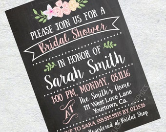 personalized bridal shower invitation - printable bridal shower invitation chalkboard - custom bridal shower invite