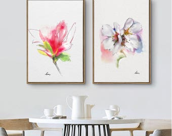 Pink Flower Wall Art Prints Set 2 Abstract Flowers Illustration Minimalist Art Magnolia Flower Watercolor Painting Original Gift Idea