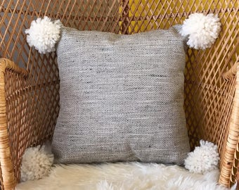 Gray Tweed Pom Pom Pillow Cover