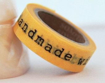 Yellow Washi Tape Handmade with Love words Full Roll 11yards WT179