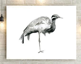 Crane bird Watercolor painting - crane drawing - Art Print - Sumi e  Animal Painting - Zen Drawing - Black and white crane bird illustration