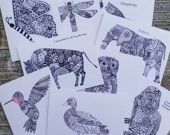 You Choose Any Set of 3 Zentangle Folded Note cards