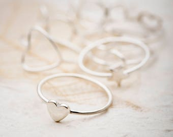 Silver Heart Ring, Heart Ring, Sterling silver Ring, Stacking Ring