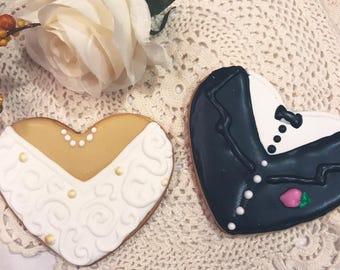 Wedding Engagement Bridal Decorated Sugar Cookies