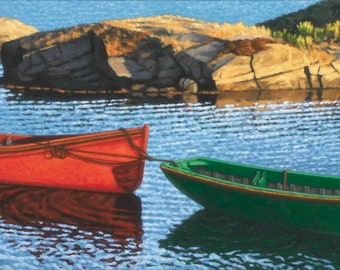"Last Light at Blue Rocks, 5"" H x 10"" W Offset Print by Paul Hannon, FREE SHIPPING Canada & US"