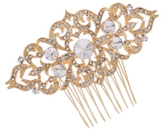 Wedding hair comb, gold hair comb, rhinestone hair comb, bridal hair comb, hair comb