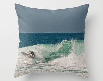 Surfer Pillow Cover 16 x 16 Home Beach Island Costal Home Surf Decor