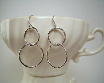 Hammered Fine Silver Cascading Double Hoops