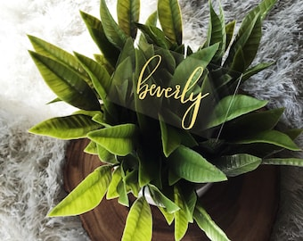 Custom Acrylic Place Cards - Gold Foil Adhesive