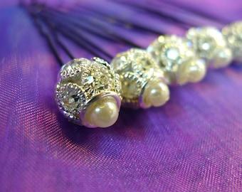Wedding Pearl Diamond Hair Bobby Pin Wedding Diamond Hair Pin Hair Accessory Diamond Hair Pin Bridal Diamond Hair Pin Bridesmaid Hair Pin