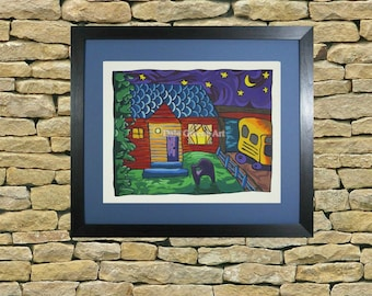 Colorful night scene print, abstract print, country home scene, downloadable art print
