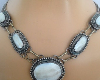 1960's /70's Mother of Pearl Tribal Neckpiece / 70's Hippie Necklace
