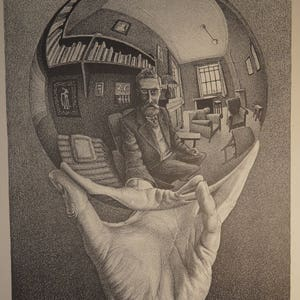 "1975 Vorpal Gallery SoHo invitation poster for M.C. Escher four-gallery show, rare woodcut, 38""x12"""