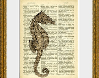 SEAHORSE IN SEPIA recycled book page art print - an upcycled antique dictionary page with a retooled antique ocean illustration - home decor