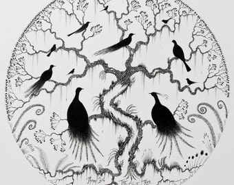 Custom Order Illustration and custom order black and white pen and ink art and custom order pen and ink bird illustration