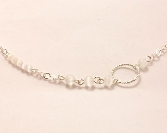 Short necklace, Choker with Silver 925 ring worked with pearls