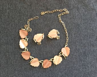 vintage peach leaves necklace, vintage choker, necklace and earring set, vintage necklace